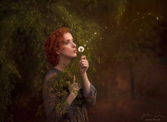 Blown ({jessica drossin}) Tags: jessicadrossin portrait naturallight dandelion blow dress lace trees leaves green redhair redhead woman beautiful wwwjessicadrossincom