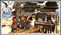 My Summer Vacation... (tralala.loordes) Tags: drd deathrowdesigns drdbohofishshack uber tralalaloordes tralala tra secondlife virtualreality sl meshcreations drdblogging blogging seagulls gulls birdattack fishchips fishshop summervacation seaside beach summer revengeofthebirds scottsilverdale shi villena maitreya leotard eirene flowstrawhat hipstermensevent uberevent fry cook tourist lunch beachfood shore oceanside waterside bohemian boho fish shanty food friedfood