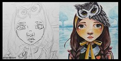 Sage (loakes.art) Tags: sage sidebyside girl owl child children quirky lisaoakesart comparison wip inprogress artistatwork artist paint painting sketch art headband drawing starttofinish beforeandafter eyes acrylic paper