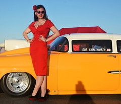 Holly_9263 (Fast an' Bulbous) Tags: chevy classic doorslammer shoebox fast speed power drag racecar girl woman pinup model hot sexy long brunette hair red wiggle dress high heels stockings people outdoor nylons santapod sky wife beauty