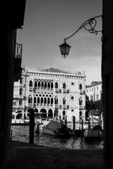 Grand Canal (Alexander Jones - Documentary Photography) Tags: documentary cityscape photography black white monochrome desaturated water canal venice north east italy italia nikon d5200 boat gondola cloudy clouds cloud venezia veneto