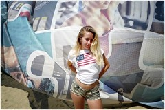 American Beauty (Steve Lundqvist) Tags: fashion moda mood attractive beauty streetphotography sportwear streetwear womenswear light hair location contact people woman cover model atmosphere ambiance seductive young life cute lifestyle intimacy boudoir italy shooting posh beau portrait ritratto hairstyle frame pretty pose posed soft softbox bar local blonde american flag shirt tshirt