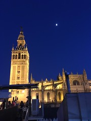 La Giralda, Seville Cathedral and the moon at dusk, Seville, Spain (Paul McClure DC) Tags: andalucía españa spain july2018 seville sevilla andalusia dusk sky historic architecture cathedral blue moorish