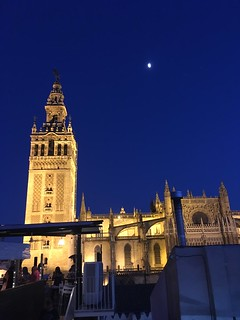 La Giralda, Seville Cathedral and the moon at dusk, Seville, Spain