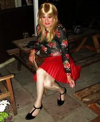 Ideal Way (Amber :-)) Tags: red sunray pleated mini skirt tgirl transvestite crossdressing