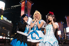 Three Of a Kind (asiantango) Tags: animeconvention animeexpo california celebrationevent centralcity cosplayseries item jwhotel lalive losangelescounty losangeleslive lovelive night nightphotography object out outdoor outdoors outside outsides time