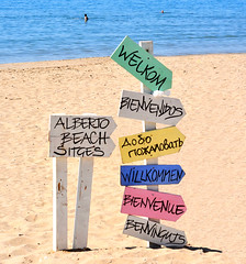 Welcome to the beach! (M McBey) Tags: sitges beach sign language humour