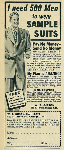 Illustrated 1950 Menswear Ad, W.Z. Gibson Sample Suits for Men