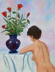 Nudo con bouquet di rose (Renoil L.) Tags: nudo rose bouquet fiori naked oilpainting vasoconrose artwork