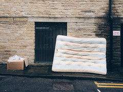 Box And Mattress (Peter.Bartlett) Tags: huddersfield england unitedkingdom gb iphone5s mobilephone cellphone urban trash rubbish doubleyellowlines vsco