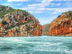 The fury of the Horizontal Falls (Digidoc2 - OFF (unwell - Recuperating)) Tags: coastline shoreline seascape shore landscape ocean watersedge horizontalfalls waterfalls unique fury whirlpool cliffs