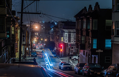 jackson street cable car (pbo31) Tags: sanfrancisco california nikon d810 night dark black color july summer 2018 boury pbo31 city urban lightstream motion traffic roadway jacksonstreet cablecar transit infinity russianhill over street streetlight neighborhood motionblur nobhill