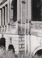 Gerald Horner on the Palladium Bridge Stowe School Buckinghamshire 1956 (Bury Gardener) Tags: bw blackandwhite oldies old snaps scans england uk britain stowe buckinghamshire 1950s 1956