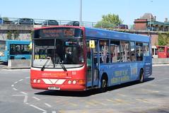WOB 53 @ Warrington bus station (ianjpoole) Tags: warringtons own buses volvo b6ble wright merit dk55omm 53 working route cat5a warrington bus station altrincham interchange