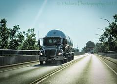 Across the Bridge (HTT) (13skies) Tags: bridge happytruckthursday tanker tankertruck truck singleshothdr trees htt pavement road lines moving hauling bigger large business