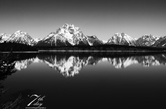 Reflections in the water (Seventh day photography.ca) Tags: landscape nature grandtetons mountains mountainrange bw black white water lake reflection wyoming unitedstates