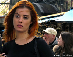 `2256 (roll the dice) Tags: london camden nw1 streetphotography people natural fashion sad mad fun funny bored happy uk classic art urban england unaware unknown portrait strangers candid canon tourism tourists hot weather crowd busy market piercing dreamy dreams blur pretty sexy red girl colour close eyes fingers phone bodypiercing nose tattoo needle cap light hair wind shops shopping makeup