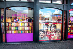 Beatles (Tony Shertila) Tags: liverpool england unitedkingdom gbr europe britain merseyside city waterfront shop window glass beatles sweets picture art