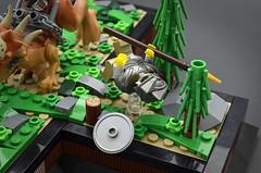 Breach (Tumble) (Klikstyle) Tags: lego medieval castle knight dinosaur stygimoloch vignette battle