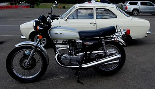 Suzuki GT 380 Parked Along Side A White Ford Escort Oulton Park  2018