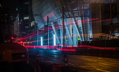 color bars (pbo31) Tags: sanfrancisco california nikon d810 color night dark black july 2018 summer boury pbo31 financialdistrictsouth construction lightstream motion traffic roadway transbay terminal bus blue bealestreet