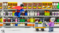 Superhelp (The Aphol) Tags: afol lego hero legography legophotography superheroes superman supermarket toy toyphotographers toyphotography dc dccomics dcuniverse shopping granny help