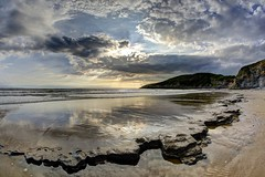 The Blood is Love (pauldunn52) Tags: temple bay glamorgan heritage coast wales beach rocks platforms sun burst clouds reflections witches point