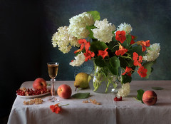 Summer still life with nasturtium and berries (Tatyana Skorokhod) Tags: stilllife nasturtium berries redcurrant fruit pear wine decor bouquet flowers onthetable indoors abigfave