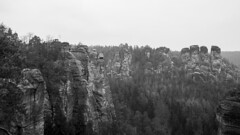 Basteigebiet (HansPermana) Tags: dresden saxony sachsen eastgermany germany deutschland eu europe europa bastei basteigebiet blackandwhite mountain spring march 2018
