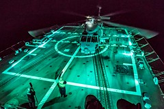 An MH-60R Sea Hawk helicopter completes the day's flight operations. (Official U.S. Navy Imagery) Tags: ussjasondunham ddg109 navy 5thfleet c5f sailors hsm48 vipers heloops mh60 helicopter us5thfleetareaofoperations