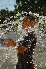 One way to get a white beard (radargeek) Tags: myriadgardens fountain oklahomacity seasonalplaza kid child oklahoma june 2018 play spray water