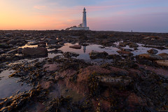 Daylight Bleeding Toward Dusk (ttarpd) Tags: stmaryslighthouse st marys lighthouse whitley bay bait island tyneside newcastle upon tyne north east tynewear england uk gb britain greatbritain coast sea water rock shore tide causeway seascape landscape sunset sundown dusk twilight eventide