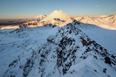 The Central Volcanic Plateau (blue polaris) Tags: new zealand tongariro national park mt ruapehu red crater volcano volcanic landscape snow sunrise moonset oturere ngauruhoe