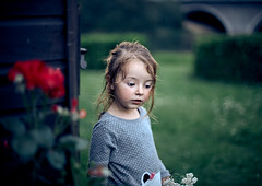 Twilight Roses. (icarium.imagery) Tags: canoneos6d canonef50mmf14 childportrait portrait child kid girl family moody garden green red roses countryside rural youth summer