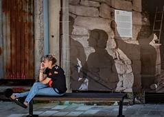 Shadow people (Leaning Ladder) Tags: cetinje montenegro balkans street mural shadows canon 7dmkii leaningladder