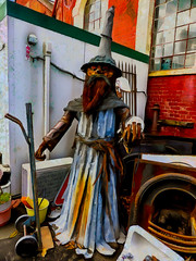Not the Wizard of Oz (Steve Taylor (Photography)) Tags: wizard crystalball fireplace trolly sink tap ac bucket hat beard digitalart sculpture metal man newzealand nz southisland canterbury christchurch corrugated