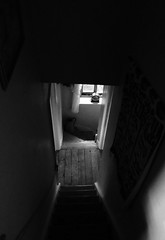 Black and White Project (ART NAHPRO) Tags: cottage stairwell window clock rural sussex landing pine floorboards