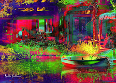 Al Fresco (brillianthues) Tags: water reflection restaurant colorful collage boat photography photmanuplation photoshop