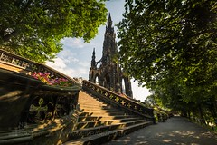 The Scott Monument (GenerationX) Tags: barr canon6d edinburgh lothian neil princesstreetgarden scotland scottmonument scottish sirwalterscott benches clouds flowers gothic landscape morning sandstone sky stairs steps sunshine trees victorian writer unitedkingdom gb