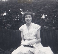 Lady in the Garden 1950's (Bury Gardener) Tags: bw blackandwhite oldies old snaps 1950s england london uk britain barnet