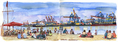 """""""Strandperle"""", Hamburg (KatrinMerle) Tags: katrinmerle hamburg strandbar beach hafen elbe port ship"""