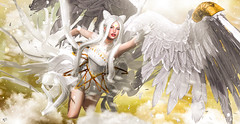 Heaven crystal (meriluu17) Tags: poseidon moonamore aii egosumaii angel sweet crystal feather wing wings golden royal fantasy fairy fae surreal people fly