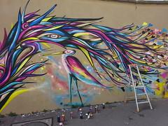 Anis : création en cours (17 juillet 2018) (Archi & Philou) Tags: streetart paris13 murpeint paintedwall oiseau bird anis échelle ladder créationencours bombe spraycan wip workinprogress