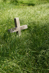 You Are Not Alone (nedlugr) Tags: california ca usa cemetery cross notalone pattygriffin grass green shadows flowers omot