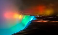 Niagara by Night (Horseshoe Falls, Canadian side) (A Whitmo®e) Tags: niagara ontario canada niagarafalls waterfall rainbow water mist colourful vacation longexposure nighttime night
