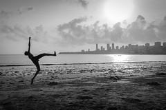 Mumbai, India (gstads) Tags: mumbai bombay india indian maharashtra beach sea ocean skyline city sunset jump kick marinedrive blackandwhite bw monochrome noiretblanc