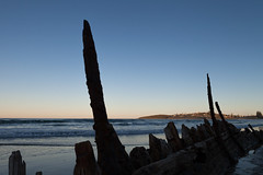 Shipwreck at Woolgoolga (Mikey Down Under) Tags: australia beach boat buster coast coffs iron northcoast northern nsw old shipwreck silhouette steel sunset timber town woolgoolga