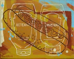 Hot Dog! (Marc Bosworth) Tags: marcbosworth artist wichita kansas painting mixedmedia acrylic foundobjects collage printmaking lino linoleumblock reliefprinting collagraph screenprint