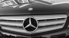 Reflections in Black & White (Shawn Blanchard) Tags: reflection reflect black bw blackandwhite white mercedes benz monochrome symbol logo car automobile