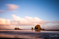 ISLAND DREAMING (Cor Lems) Tags: whatipu landscape sunset nature reflection landscapes auckland sea longexposure beach newzealand pink naturallight seascape park national ocean reserve